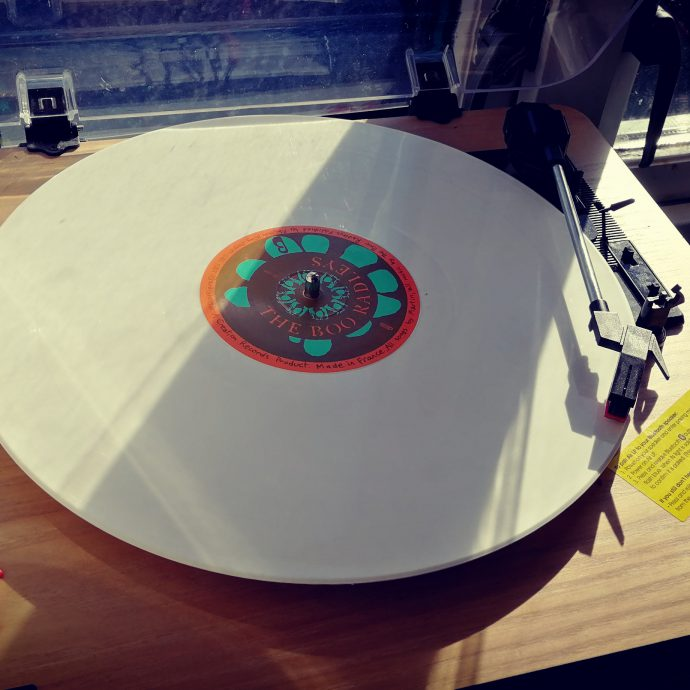 White record, with orange and green label